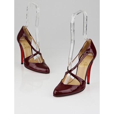 Christian Louboutin Burgundy Patent Leather Vita Dita Mary Jane Pumps Size 7.5/38