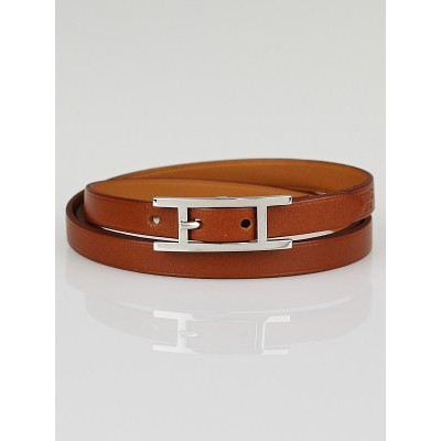 Hermes Natural Barenia Leather Hapi 3 MM Bracelet Size GM
