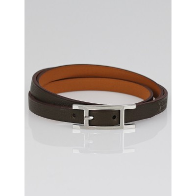 Hermes Olive Chamonix Leather Hapi 3 MM Bracelet Size GM