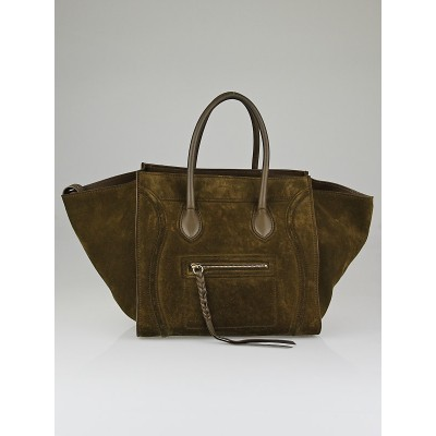 Celine Khaki Suede Small Phantom Luggage Tote Bag