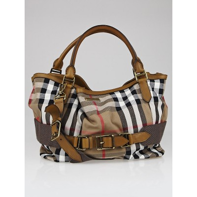 Burberry Nova Check Canvas and Camel Leather Large Tote Bag