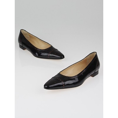 Manolo Blahnik Black Patent Leather Perforated Flats Size 9/39.5