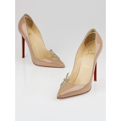 Christian Louboutin Nude Patent Leather Sex 120 Pumps Size 8.5/39