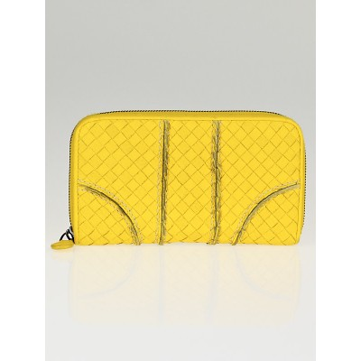 Bottega Veneta Sunset Intrecciato Woven Cervo Leather Zip Around Wallet
