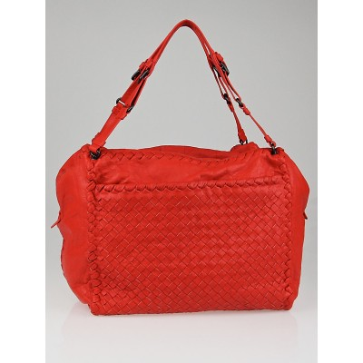 Bottega Veneta Fire Intrecciato Woven Leather Front Pocket Satchel Bag