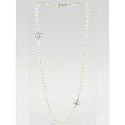 Chanel Faux Pearl Double CC Long Necklace