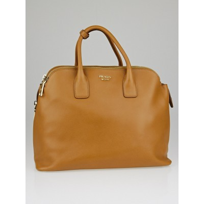 Prada Caramel Saffiano Leather Top Handle Satchel Bag BN2546