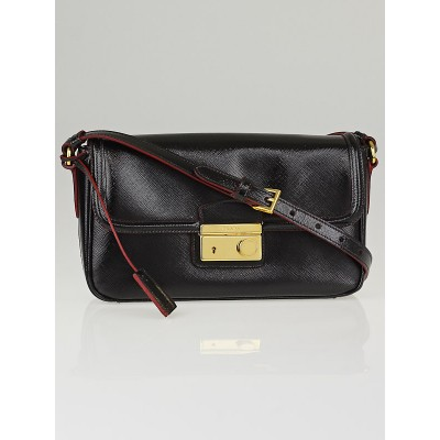 Prada Black Saffiano Vernice Leather Shoulder Bag BT0911