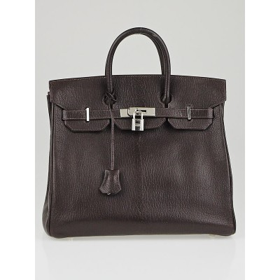Hermes 32cm Chocolate Chevre de Coromandel Leather Palladium Plated HAC Birkin Bag
