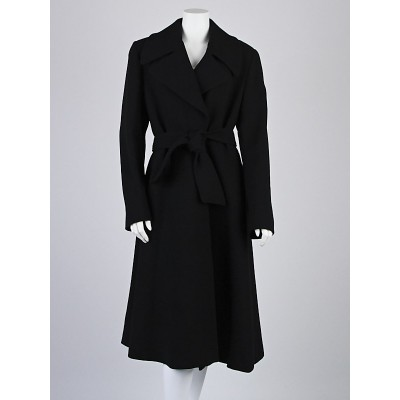 Dolce & Gabbana Black Wool Trench Coat Size 10/44