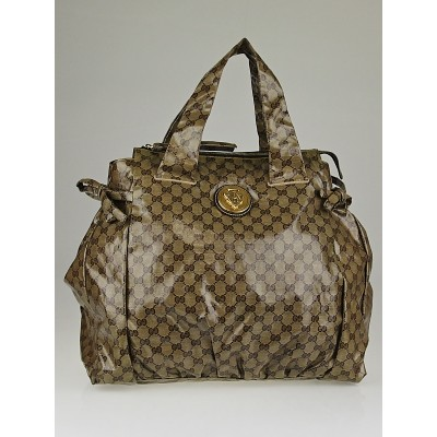 Gucci Beige/Ebony Crystal Coated Canvas Large Hysteria Tote Bag
