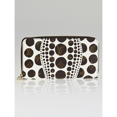 Louis Vuitton Limited Edition Yayoi Kusama Cosmic White Monogram Pumpkin Dots Zippy Wallet