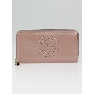 Gucci Beige Patent Leather Soho Zippy Wallet