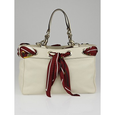 Gucci Ivory Leather Positano Medium Tote Bag