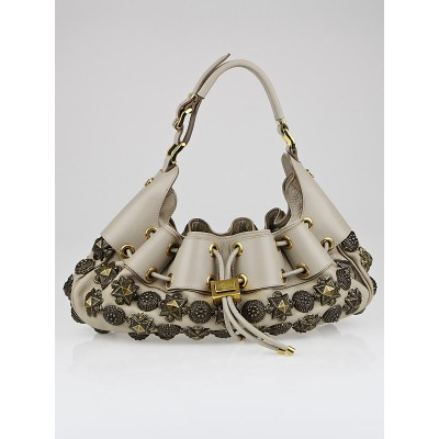 Burberry Prorsum Ivory Leather Mason Warrior Hobo Bag