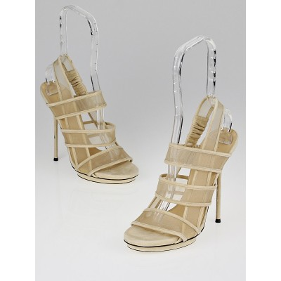 Gucci Beige Suede/Mesh 'Bette' High Heel Sandals Size 7.5/38