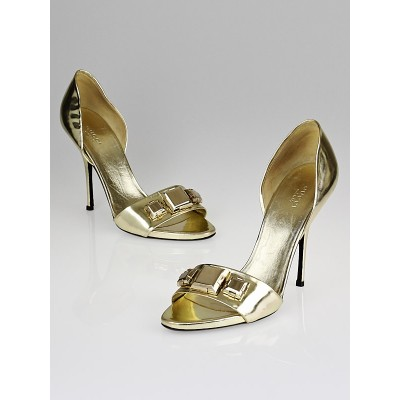 Gucci Gold Leather Studded D'Orsay Pumps Size 10/40.5C
