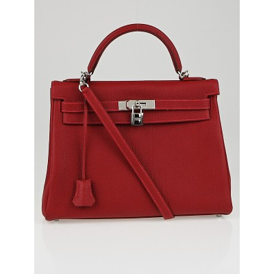 Hermes 32cm Rouge Garance Fjord Leather Palladium Plated Retourne Kelly Bag