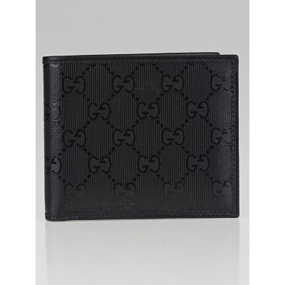 Gucci Metallic Black GG Coated Canvas Bi-Fold Compact Wallet