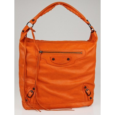 Balenciaga Tangerine Lambskin Leather Day Bag
