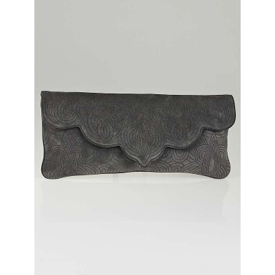 Yves Saint Laurent Grey Suede Embroidered Scallop Edge Clutch Bag