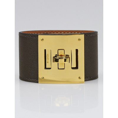 Hermes Eucalyptus Swift Leather Gold Plated Kelly Dog Bracelet