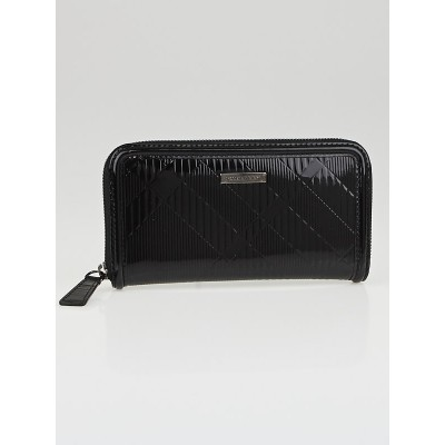 Burberry Black Check Embossed Patent Leather Large Zip Around Ziggy Wallet
