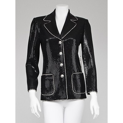 St. John Couture Black Sequin and Wool Knit Jacket Size 2