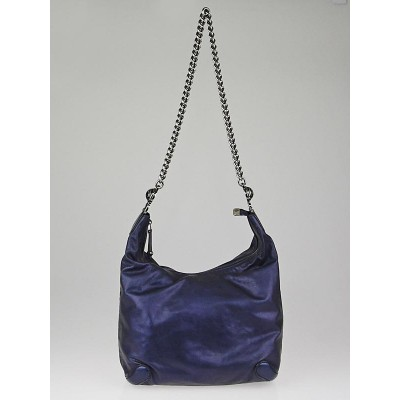 Gucci Metallic Blue Leather Galaxy Medium Shoulder Bag