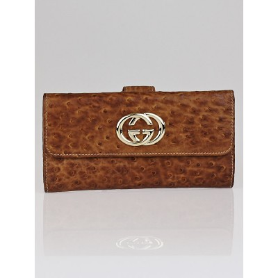 Gucci Brown Ostrich Britt Long Flap Wallet