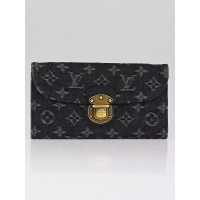 Louis Vuitton Black Denim Monogram Denim Amelia Wallet