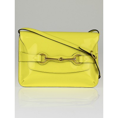 Gucci Yellow Patent Leather Bight Bit Shoulder Bag