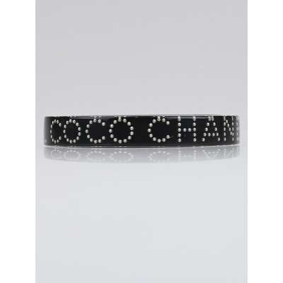 Chanel Black Resin and Faux Logo Coco Chanel Bangle Bracelet