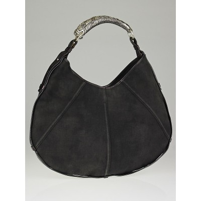 Yves Saint Laurent Black Denim Large Mombasa Horn Shoulder Bag