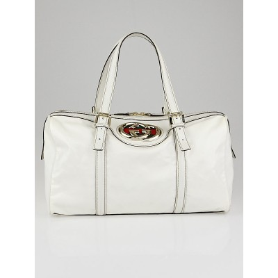 Gucci White Dialux Britt Boston Satchel Bag