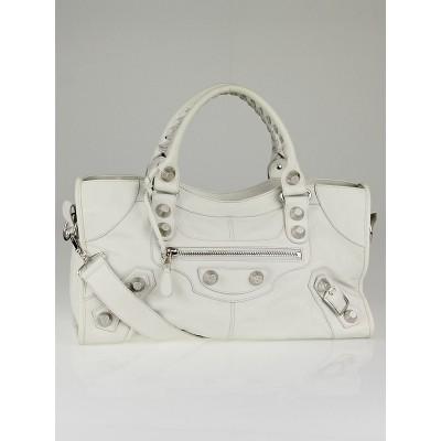 Balenciaga White Lambskin Leather Giant 21 Silver Part Time Bag