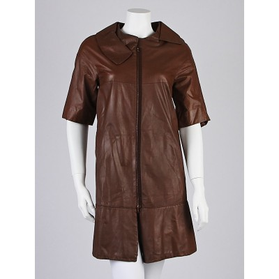 Marni Brown Leather Short Sleeve Coat Size 6/40
