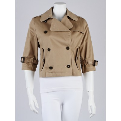 Burberry Honey Cotton Cropped Trench Coat Size M