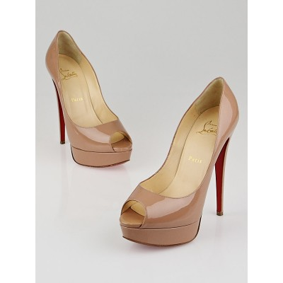 Christian Louboutin Nude Patent Leather Lady Peep 150 Pumps Size 8/38.5