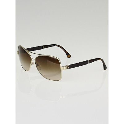 Chanel Gold Frame Brown Gradient Tint Square Sunglasses 4196-Q
