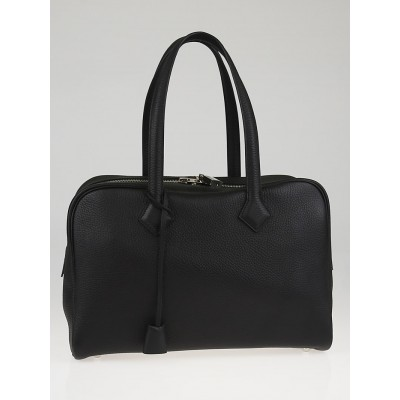 Hermes 35cm Black Clemence Leather Victoria II Bag