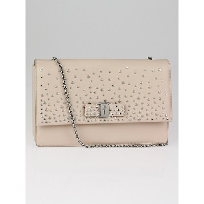 Salvatore Ferragamo Pale Pink Leather Louvre Studded Ginny Mini Flap Bag
