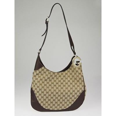Gucci Beige/Brown GG Canvas Charlotte Hobo Bag