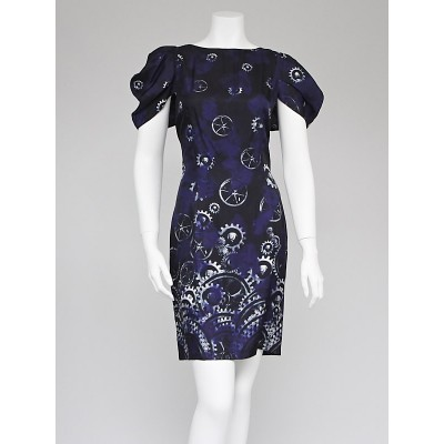 McQ Alexander McQueen Purple Cog Print Silk Shift Dress Size 12/46