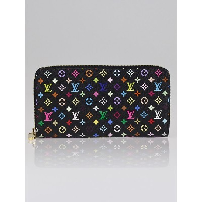 Louis Vuitton Black Monogram Multicolor Zippy Wallet