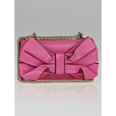 Valentino Pink Leather Bow Mini Flap Bag