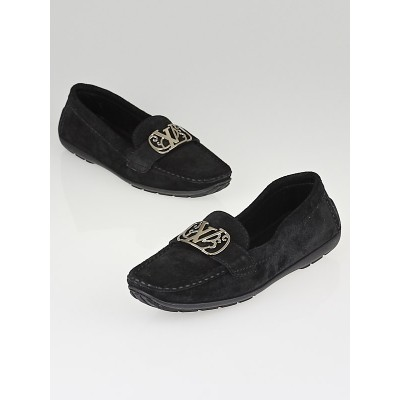 Louis Vuitton Black Suede Mocassin Loafers Size 9.5/40