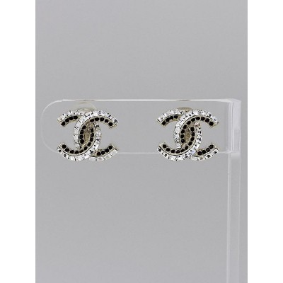 Chanel Gold Metal and Crystal CC Clip-On Earrings