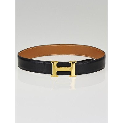 Hermes 32mm Black Box/Gold Chamonix Leather Gold Plated Constance H Belt Size 65