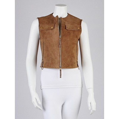 Escada Brown Suede Biker Vest Size 2/34